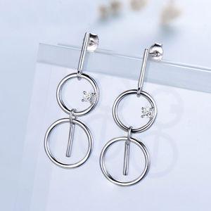 Silver Drop Earrings Circle Dangle Earrings